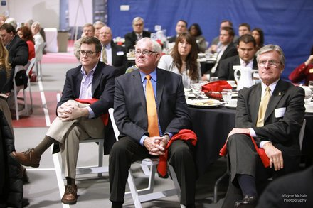 Dignitaries look on as Romeoville Mayor John Noak gives his annual State of the Village Address March 6 at Lewis University.