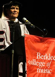 Musician and activist Harry Belafonte was honored last week by the Berklee College of Music with an honorary doctorate of music degree.