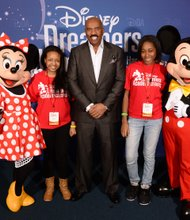 New York's Dreamers Chelsea Mina and Madison Mack with Steve Harvey