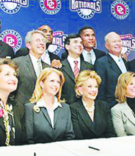The group of minority owners of the Washington Nationals Baseball team is seen here. Faye Fields is seated fifth from the left. (Courtesy of the Lerner Companies)