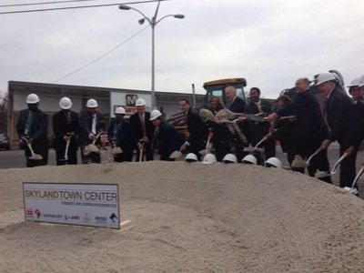 D.C. Mayor Vincent Gray (7th from left) joined city officials and community leaders on March 12 to break ground on the Skyland Town Center in Southeast. (Courtesy of the Mayor's Office)