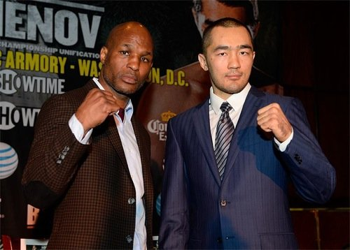 IBF Light Heavyweight World Champion Bernard Hopkins (left) and WBA and IBA Light Heavyweight World Champion Beibut Shumenov pose on March 12, 2014, at the BB King Blues Club in New York City during the press conference for their April 19 world title unification bout at the D.C. Armory in Washington, which will be televised live on Showtime Championship Boxing. (Rich Kane/Hoganphotos/Golden Boy Promotions)
