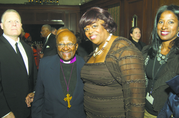 Awardee Archbishop Desmond Tutu and Suzan J. Cook, ambassador-at-large for International Religious Freedom