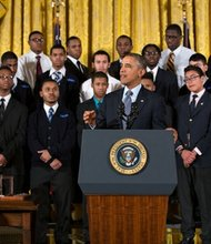 "President Barack Obama delivered remarks at an event to highlight ""My Brother's Keeper,"" an initiative to expand opportunity for young men and boys of color, in the East Room of the White House, on Thursday, February 27, 2014."