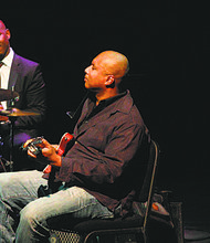 "Bernie Williams, the popular former New York Yankees player, played jazz on Sunday evening at the New Jersey Performing Arts Center in Newark in a program titled ""Jazz Meets Sports."" Here, Williams is playing next to jazz drummer Ulysses Owens Jr."