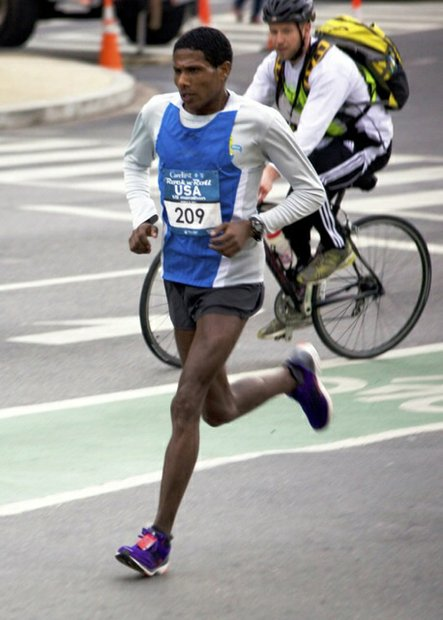 Abiyot Endale, 28, a native of Ethiopia, participates in the D.C. Rock 'n' Roll Marathon in Northwest on March 15, 2014. Endale finished first in the half-marathon version of the race.