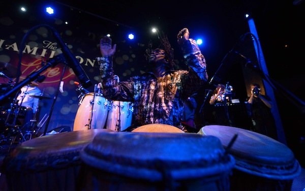 Percussionist Mahiri Keita of D.C.-based afrofunk band Chopteeth performs with the band at the Hamilton in Northwest on Friday, March 14.