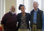Karilyn Crockett, center, is flanked by longtime community activists Chuck Turner and Tunney Lee. The three participated in a March 11 forum at RCC on the 1960s fight to stop the extension of I-95 through city neighborhoods.