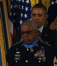 "President Barack Obama awarded the Medal of Honor to Staff Sergeant Melvin Morris on Tuesday, March 18, 2014. In 1969, the Army Green Beret ""charged into a hail of fire"" to save his injured comrades and retrieve the bodies of the fallen, even though he was shot several times and bleeding."