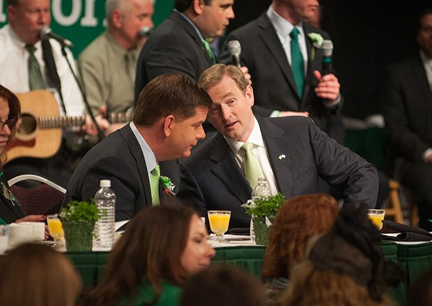 Boston Mayor Martin Walsh chats with Irish Prime Minister Enda Kenny.