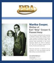 "Memorial services set for Martha Cooper, mother of  Earl ""Skip"" Cooper, II"