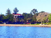 Lake Merritt, which, at 155 acres, is the only natural saltwater lake wholly contained within the border of a U.S. city.