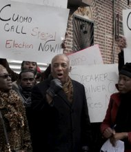 Charles Barron speaking to protestors at a rally to demanded special elections for 10 New York Assembly districts offices
