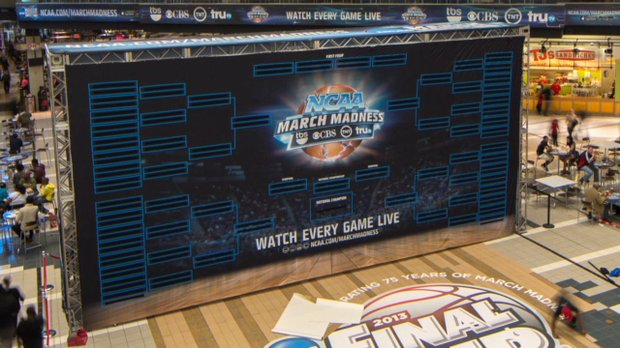 Visitors to CNN Center in Atlanta can check out the 2013 NCAA Basketball Tournament Bracket on a giant screen set up in the atrium. As part of a marketing campaign Turner Sports set up the 32-foot NCAA tournament bracket to get fan excitment going.