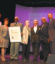 Legendary theater producer Voza Rivers received a proclamation during the New Federal Theatre's 44th anniversary gala, held at Manhattan Community College. L to R: IMPACT Repertory Theatre producer Jamal Joseph, Councilwoman Inez Dickins, Rivers, Manhattan Borough President Gale Brewer, Rep. Charles Rangel, theater producer Woodie King Jr. and actor Robert Townsend