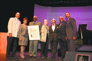 Legendary theater producer Voza Rivers received a proclamationduring the New Federal Theatre's 44th anniversary gala, held at Manhattan Community College. L to R: IMPACT Repertory Theatre producer Jamal Joseph, Councilwoman Inez Dickins, Rivers, Manhattan Borough President Gale Brewer, Rep. Charles Rangel, theater producer Woodie King Jr. and actor Robert Townsend