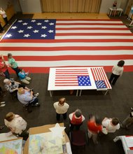 The Maryland Historical Society recruited experienced stitchers and volunteers to recreate the 30x42 foot Star Spangled Banner flag during the same six-week period that orignal flagmaker Mary Pickersgill did 200 years ago.