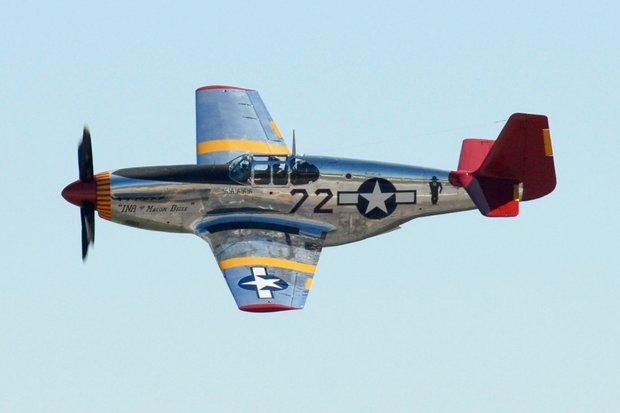 Taken at the Gathering of Mustangs, Columbus, Ohio. P-51 B painted in the colors of the Tuskegee Airmen