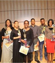 First place winners of Pi Omega 58th Annua Talent Hunt winners with members of Pi Omega Chapter (left to right) Malik Mosley, Basileus, Pi Omega Chapter; Dije Coxson, Vocal Classical; Kaylah Smith, Dance; Sydney Boyd, Instrumental Classical; Keith Davenport, Instrumental Contemporary; Mohamed Tall, Drama; Katyrah Davenport, Vocal Contemporary; and Talent Hunt Chairman John Berkley.