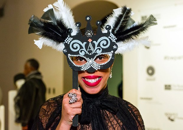 Arts Advocate Aziza Robinson Goodnight flaunts her mask
