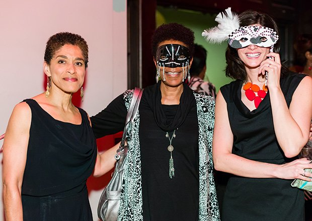 Masked woman in center is Johnetta Tinker, Dir. Community Programs at Isabella Stewart Gardner Museum
