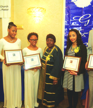 Scholarship awardees Matthew Robinson, Sophitia Imani Morgan Muslim, Khoret A. Hutson, Gloria Benfield (founder G&B Foundations), Kayla Middleton and Richard I. Hardy
