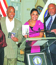 Master  of Ceremonies Bessie Edward, Brooklyn Borough President Eric Adams, Deputy Brooklyn Borough President Diana Reyna and PR director Bob Meyers
