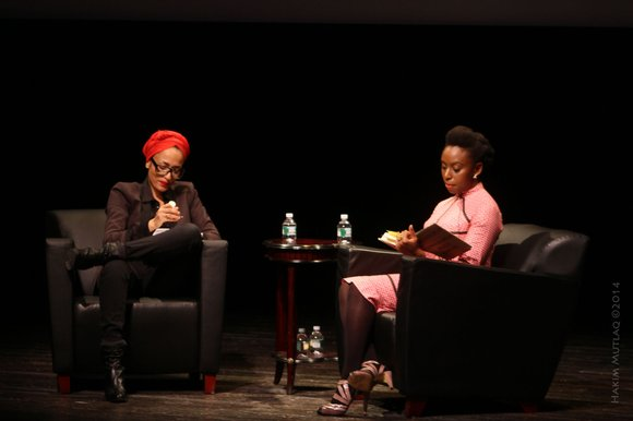 Nigerian author Chimamanda Ngozi Adichie visited the Schomburg Library in Harlem for the first stop on her book tour
