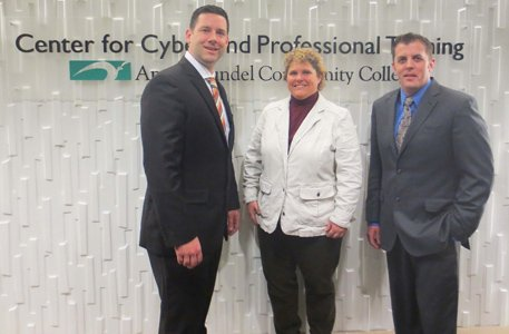 "New ""Growing the Cyber Analyst"" training begins this spring at the CyberCenter at Anne Arundel Community College's Center for Cyber and Professional Training in Hanover with curriculum developed by OPS Consulting and the CyberCenter. (left to right) Tony Jordan, OPS Consulting Director of Analytics; Kelly Koermer, AACC Executive Director of the Center for Cyber and Homeland Security Technology and Joint Ventures; and Ben Stafford, OPS Consulting Cyber Analysis Support Specialist."