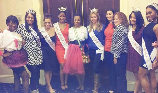 (Left to right) Catonya Lester, vice president, Priceless  Gown Project; Miss Delmarva 2014, Diane Mitchell; Miss Anne Arundel County 2014, Kati Peditto; Miss Annapolis 2014, Ebony Sherrill; Leslie Collier, President Priceless Gown Project; Miss Baltimore, Samantha Hawkins; Onahlea Shimunek and Claudia Womack of the Baltimore Marriott Inner Harbor Camden Yards; Miss Baltimore Outstanding Teen 2014, Brittany Brown; and Miss Black Maryland USA DeJanee Fennell.