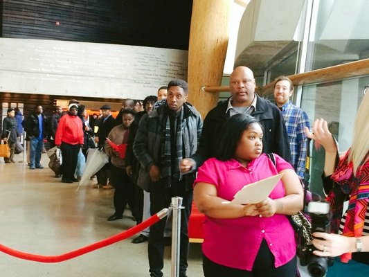 Jasmine Woods, 21, of Southeast is first in line at the D.C. Job Fair on March 28 at the Mead Center for American Theater in Southwest.