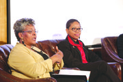 "The ""Because We Care"" panel featured an interactive discussion between an audience of nearly 200 participants and presenters. In attendance were Mrs. Patricia Butts (left), first lady of Abyssinian Baptist Church and chair of the church's health ministry, and Debora Allen (right), R.N., MSN/MPA, director of sub-acute and resident services at the Isabella Geriatric Center. The panel also included Dr. Francis L. Brisbane, Ph.D., dean and professor at the School of Social Welfare of Stony Brook University, and the AARP's Dionne Polite, associate state director of multicultural initiatives."