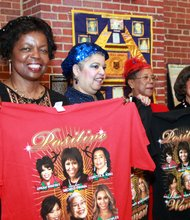 Ramocile, Vivian, Pat and Betty proudly display their t-shirts.