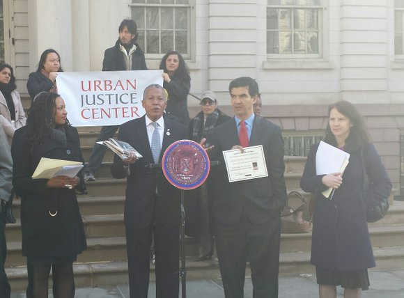 The Urban Justice Center gave out certificates to 13 City Council members on Thursday April 3, on the steps of ...