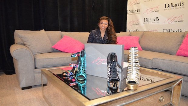 Keyshia Cole with her new shoe line Keyshia Cole x Steve Madden at Dillard's Post Oak - Galleria.