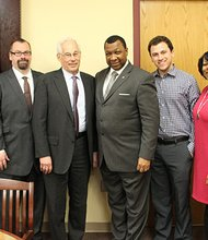 Massachusetts gubernatorial candidate Donald Berwick (fourth from left) recently toured the Suffolk County House of Correction. (l-r) Suffolk County Sheriff's Department staff Rachelle Steinberg, Valerie Barsom, Dennis Guilfoyle; Berwick; Suffolk County Sheriff Steven W. Tompkins; staffer David Marsh; Superintendent of the House of Correction Yolanda Smith; and Superintendent In-Chief Michael Harris.