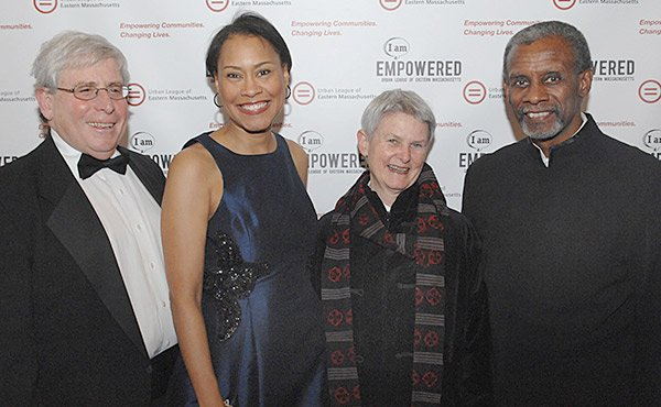 The Urban League of Eastern Massachusetts held its 22nd Annual Gala on April 4 at Lombardo's in Randolph. Five hundred attended the event which honored six individuals for their community contributions. Honorees pictured are: (l-r) Jeffery L. Musman, Denise Kaigler, Kathe McKenna and George Russell.