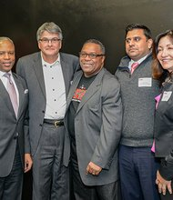 The BASE board members: (l-r) Alan Khazei, founder of City Year; Ronald Walker II, Next Street; Patrick Davis, M3 Advisory Group; Robert Lewis Jr., founder and president of The BASE; Nimit Patel, Sony Corp.; Aixa Beauchamp, Beauchamp & Associates; and Ken Lang, public equity investor.