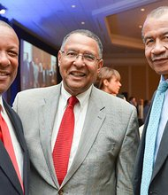 (l-r) TV Anchor Byron Barnett, Supreme Judicial Court Chief Justice Roderick Ireland and Wayne Budd