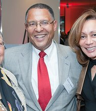 Supreme Judicial Court Chief Justice Roderick Ireland is joined by his Alice Ireland (l) and Boston College Law School Dean Tracey West (r).