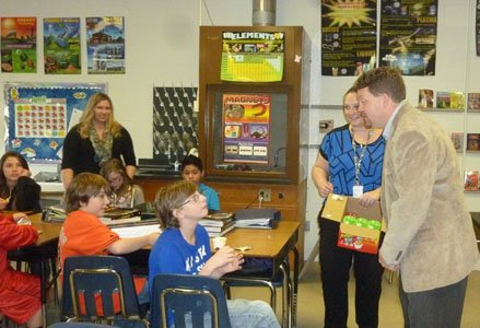 Top scientist Shon Isenhour visited George Fox Middle School in Pasadena as a guest lecturer on April 8, 2014, to ...