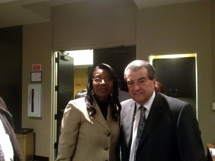 Bettye Gavin pictured with Mayor Tom Giarrante after her appointment to the city council.