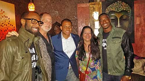 Kendal Francis, Data News Weekly VP of Advertising Glenn Jones and friends gathered to celebrate Malcolm Jenkins & Roman Harper ...