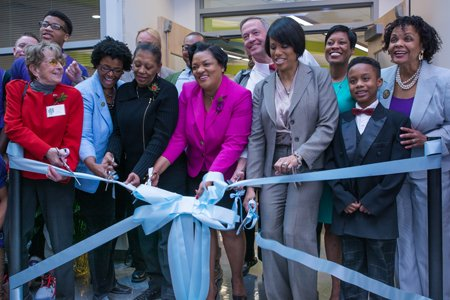 Mary Pat Clarke, Baltimore City Council - District 14; Dr. Shanaysha Sauls, chair of the Board of School Commissioners; Waverly Principal Amanda Price; Governor Martin O'Malley; Mayor Stephanie Rawlings-Blake; State Senator Verna Jones-Rodwell, District 44; along with other local and state officials; students; teachers and staff at the official ribon cutting ceremony of the new state-of-the-art building at Waverly Elementary/Middle School in Baltimore on Thursday, April 10, 2014.