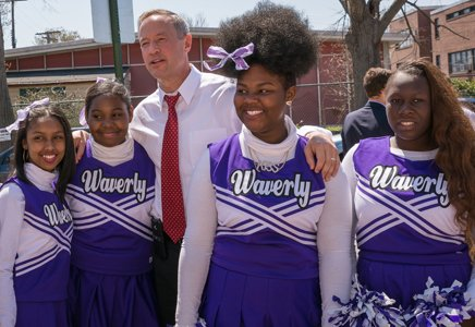Eighth grade Waverly cheerleaders with Governor Martin O'Malley. (From left) Mone Williams; Briona Barnes; Keonia Perry; and Yasaura Brown.