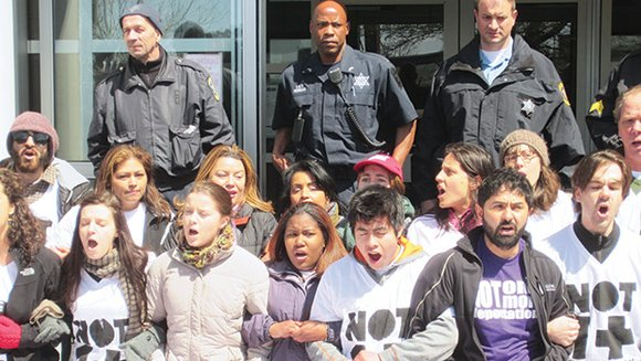 Immigration activists blocking the Suffolk County House of Correction in Boston were arrested last week as a part of a ...