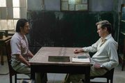 "In ""The Railway Man"" former prisoner of war Eric Lomax, played by Colin Firth, confronts his former captor Hiroyuki Sanada, played by Takashi Nagase, years after his release."