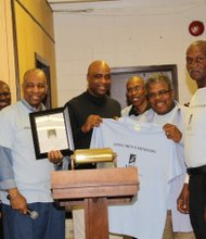 AIMA presented a certificate and AIMA t-shirt to Rick Anthony. (L-r): George Redd, Morgan Smith, Clifton Johnson, Rick Anthony, Terrance Jones, Ralph Thomas and Charles Fuller.