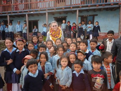 Robert Gruber and students in Nepal