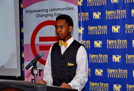 "Grade 11 Baltimore City College student and Saturday Leadership Program Fellow Daekwan Jacobs addresses the audience at the closing ceremony of the new flagship initiative, ""Saturday Leadership Program"" of the Greater Baltimore Urban League at Coppin State University on Saturday, April 5, 2014."